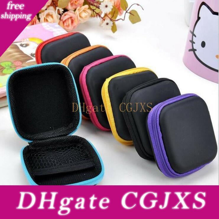 Headphone Case PU Leather Earbuds Pouch Mini Zipper Earphone box Protective USB Cable Organizer Fidget Spinner Storage Bags 5 Colors CFYZ320