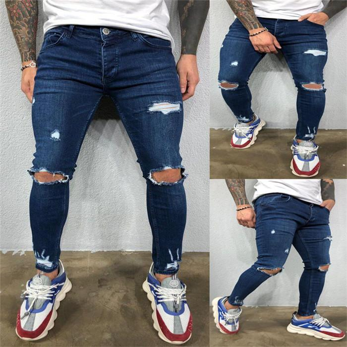 Mens Foro strappato matita Jeans Uomo Primavera Luce lavato Alta Moda Demin Pantaloni Uomo Pantaloni slim Pantaloni