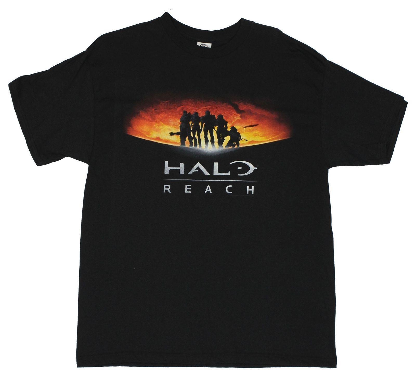 Halo Herren T-Shirt - Reichweite Annoucement Kunst auf Schwarz Cartoon-T-Shirt Männer Designer neue Kleider T-Shirt T-Shirt Top Tees Tops