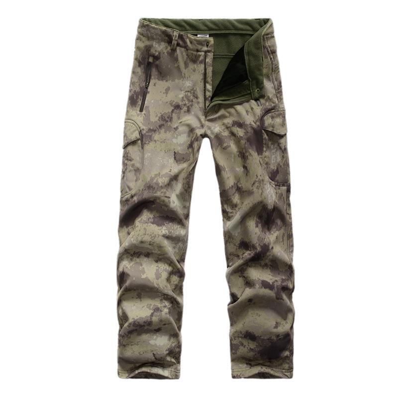 Pantalones al aire libre Hombre Invierno Resistente al agua Fleece Forrada Ski Softshell Táctico con múltiples bolsillos