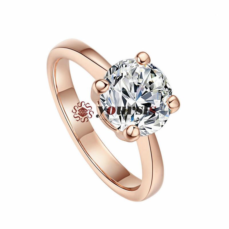 Yoursfs Fashion Crystal Engagement Ring 18K guldpläterad unik bröllopsmonemon