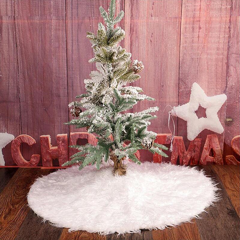 1PCS 80cm Weiß Plüsch Weihnachtsbaum Röcke Pelz Teppich Frohe Weihnachten Dekoration für Heim Baum Röcke neuen Jahr-Dekoration