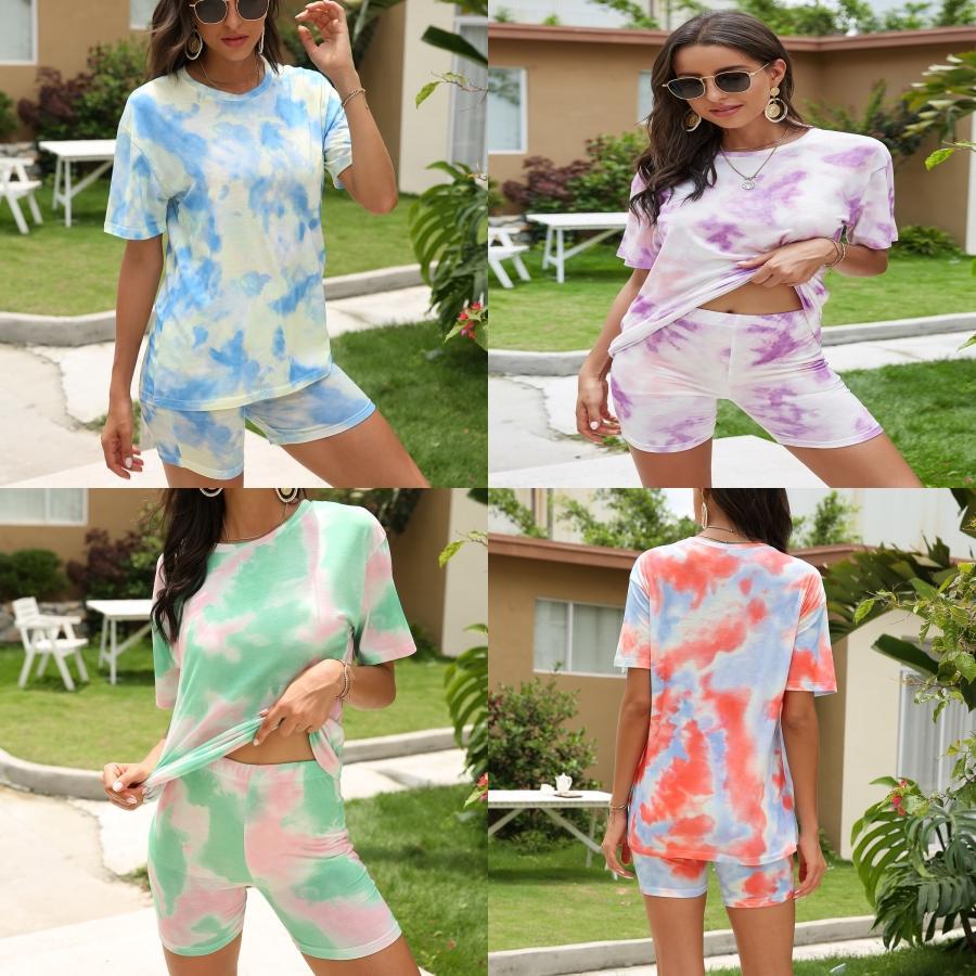 High End Женщины Девушки набор Топы Футболка Письмо печати Crew Neck коротким рукавом Блузка Tee И A-Line мини Tight юбка 2020 моды Костюм # 221