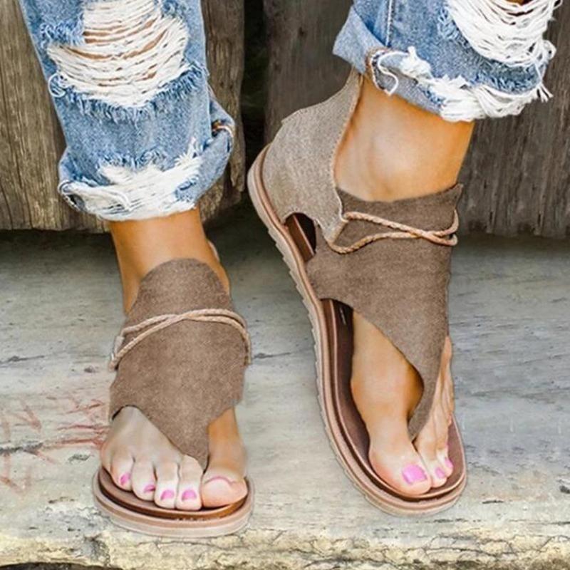 2020 neue Sommer-Sandelholz-Frauen Flache Damen Bequeme Knöchel hohle runde Toe Sandalen weiche Sohle Schuhe Sandalen Mujer 2020