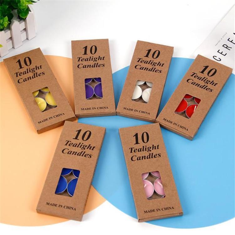 10PC / paquet Bougies parfumées Kraft Boîte Smokeless Aroma parfumée Thé Cire créative Accueil de soirée de mariage ronde Bougies T9I00286