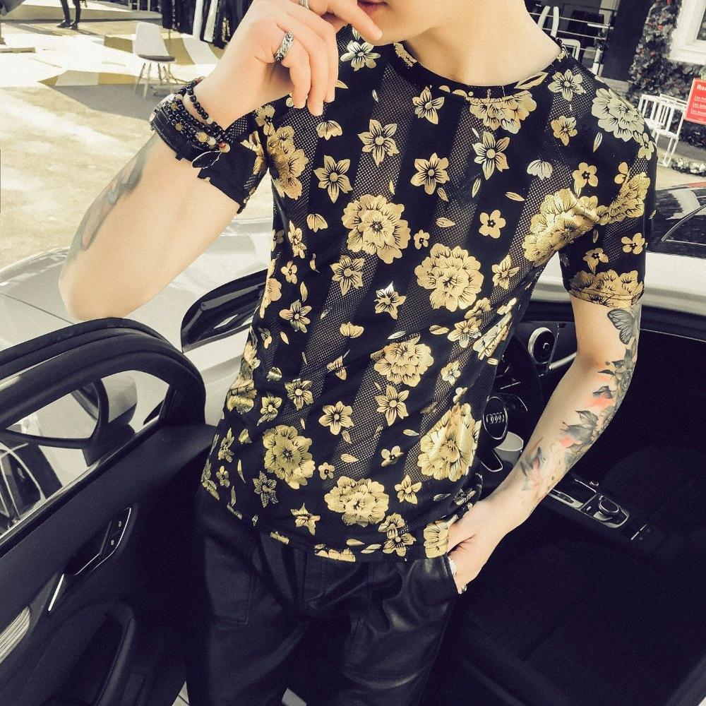 Summer Men T Shirt Brand New Slim Fit Men T Shirts With Short Sleeve Hollow Slim Fit Breathable Floral Tee Shirt Homme aXOL#