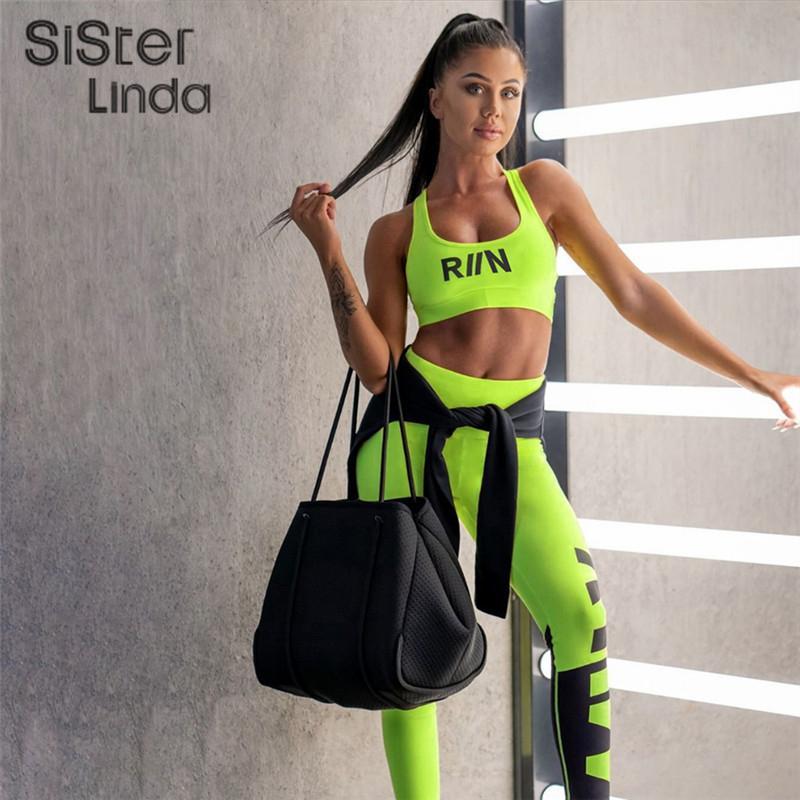 Sisterlinda Femmes Fitness Survêtement Deux Set Pieces sport Neon Tank Top Bra Skinny taille haute Jambières Outfit Survêtement Muje T200730