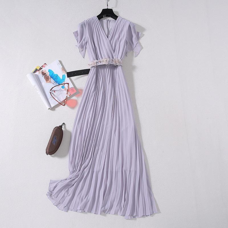 2020 Verão de luxo mais novo de manga curta V Neck cor sólida Chiffon plissadas Belted longo azul Maxi vestido Runway Vestidos JL082327