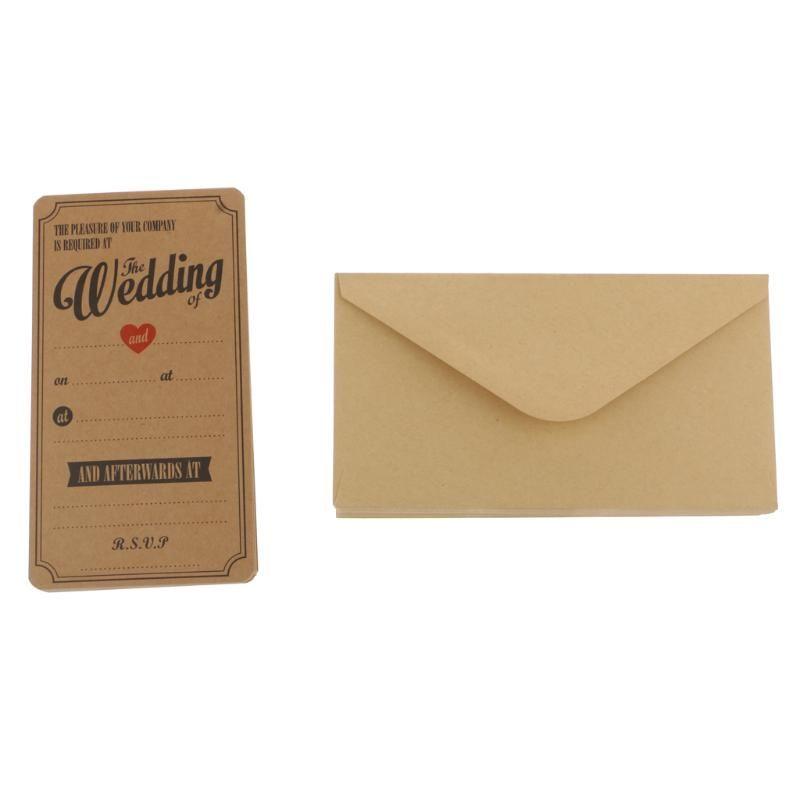 50PCS خمر كرافت ورقة بطاقات معايدة حفل زفاف مغلفات بطاقات دعوات