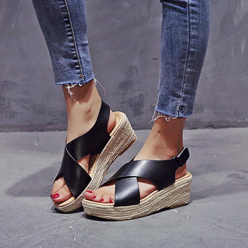 2020 zeppe per alti talloni delle donne estate flip flop scarpe Chaussures Femme Platform Sandals Plus Size 34-43 CX200715