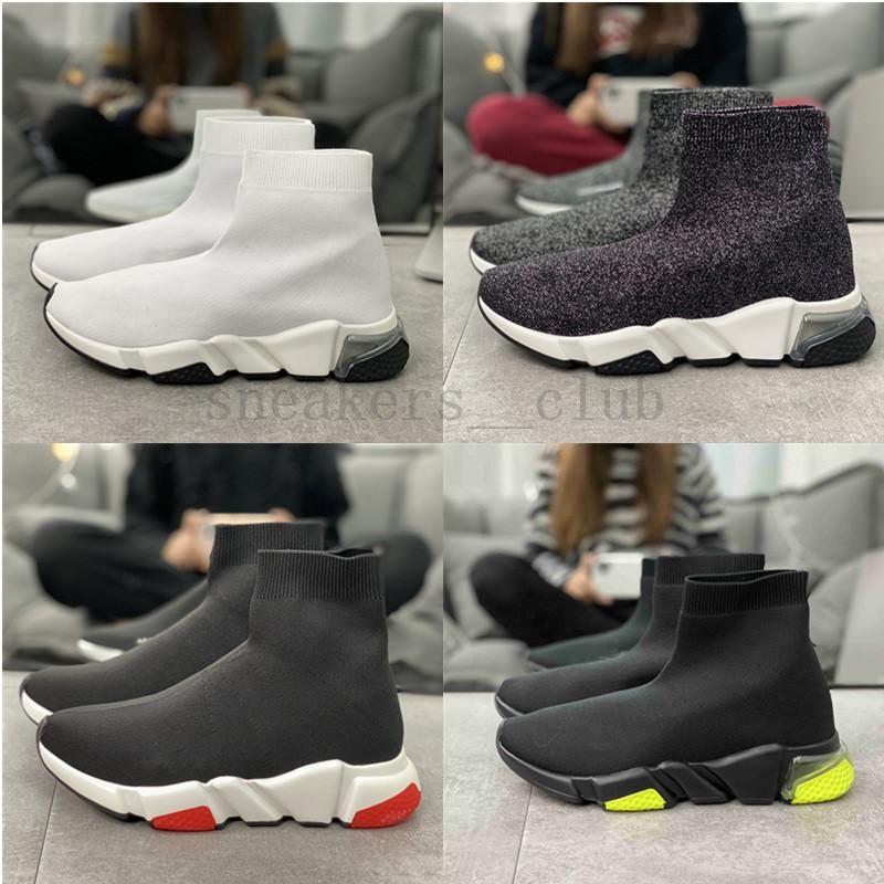 2020 Ucuz Kadınlar Erkek Çorap Hız Trainer Ayakkabı Sneakers Örme Kayma-on Yüksek Kalite Casual Yürüyüş Ayakkabı Rahatlık Hepsi Siyah CHAUSSURES