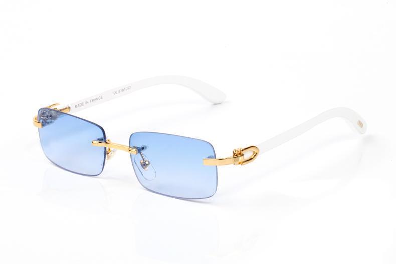 Óculos de sol novos chegada de moda para chifre homens búfalo branco óculos de armação óptica mens esporte de bambu de madeira com azul claro lentes lunettes