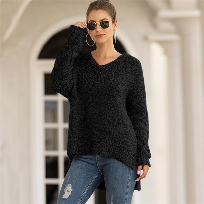 Terciopelo de partículas Pullover irrgular suéteres de las mujeres de la manera floja Ropa Casual invierno de las mujeres con cuello en V Sólido diseñador de la mujer suéter