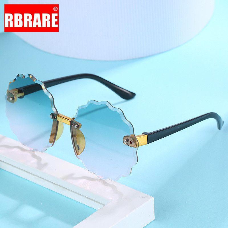 Rarerb Glassesless Glasses Sunglasses Sin marco Niños Niños Gradiente Flower Boys Girls Sol Para Gafas De Sol Vintage Oculos Tqahg
