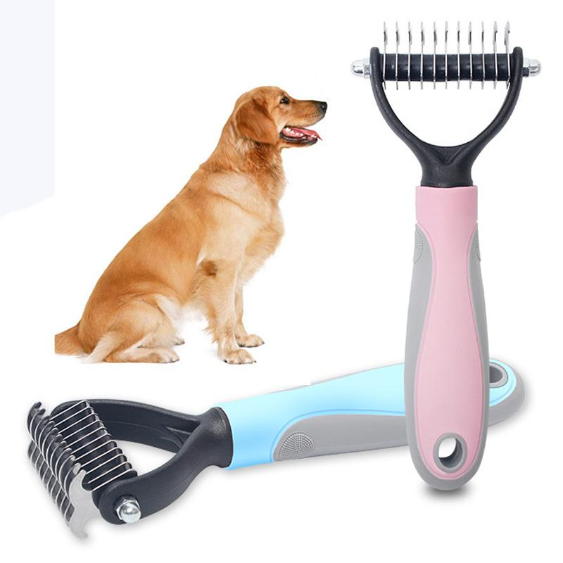 Rizado de eliminación de mascotas perros de pelo del gato del perro del peine de ajuste de la piel Dematting deshedding Cepillo de la preparación del animal doméstico herramienta enmarañada de pelo largo BH2297 Peine