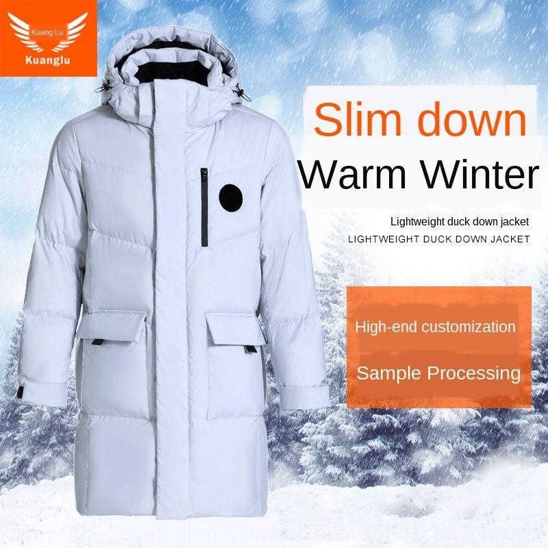 Qd1T1 2020 otoño y la mitad de la longitud de Nueva ajustada Ocio Negocio bolsillo grande invierno de la chaqueta de los hombres abajo con capucha de color sólido por la chaqueta