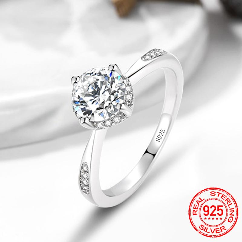 2020 New Original 925 Real Sterling Silver Engagement Wedding Rings for Women finger fashion design Fine jewelry gift paty personalized R446