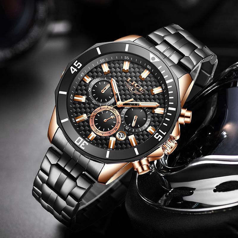 Lige 2020 Новые часы Мужские часы для мужчин Простые кварцевые часы Водонепроницаемые часы для Casual