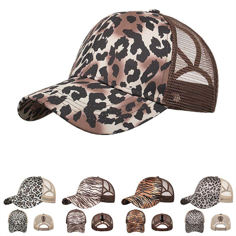 Женщины хвостик Visor Cap Leopard Tiger Stripe Print Бейсболка Назад Hole Casquette Snapbacks Девушка хвощ Шляпа регулируемой крышка 5 цвета