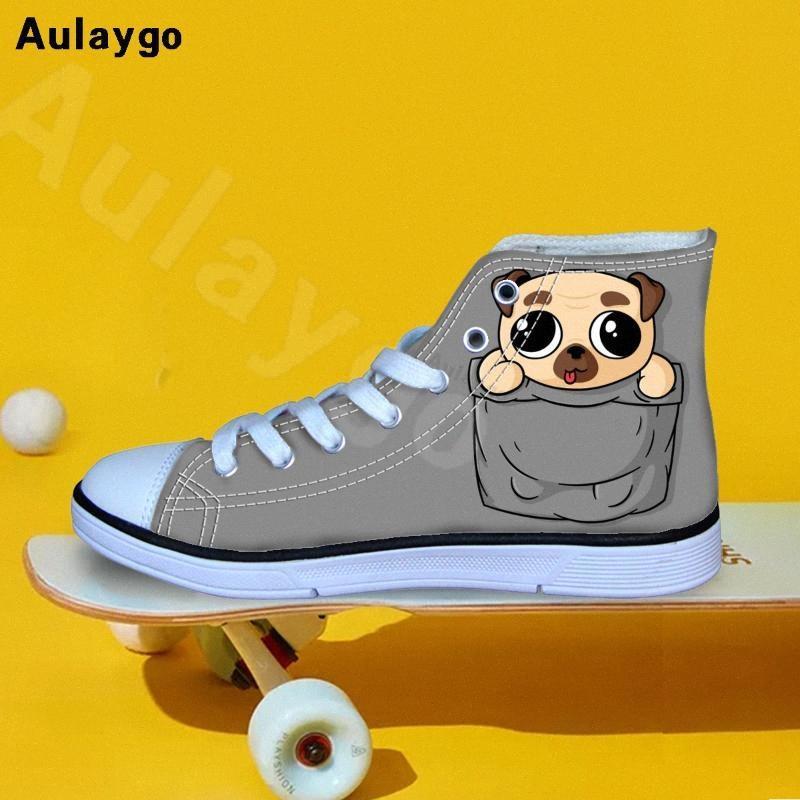 Aulaygo fumetto sveglio Pocket animale cane stampa Kids Shoes per la ragazza Ragazzi casuale che cammina Sneakers traspirante alte in tela Top Flats Ms7q #