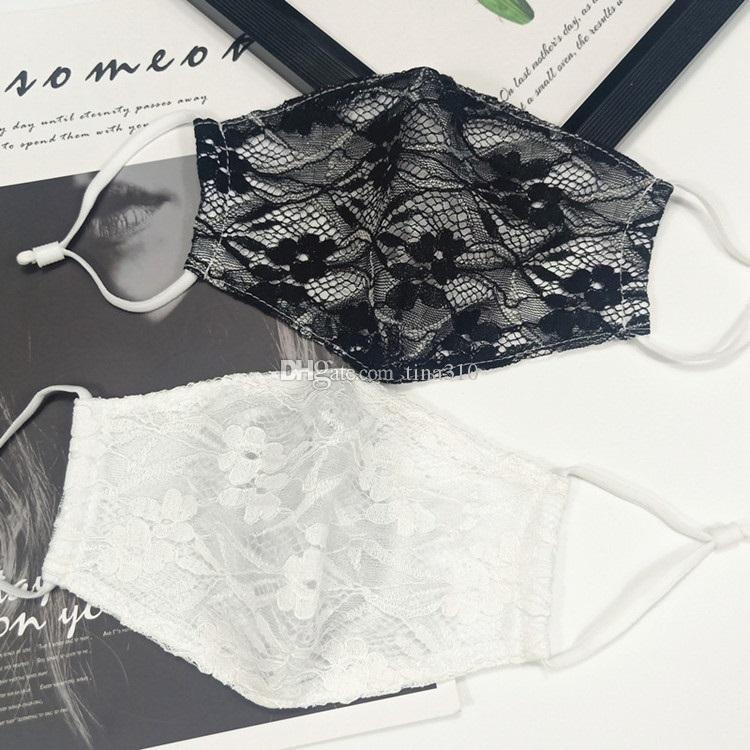 Pizzo maschera doppio strato volto magro traspirante mascherare donne all'aperto del antipolvere appesa maschera orecchio Maschere Designer T2I51070-1