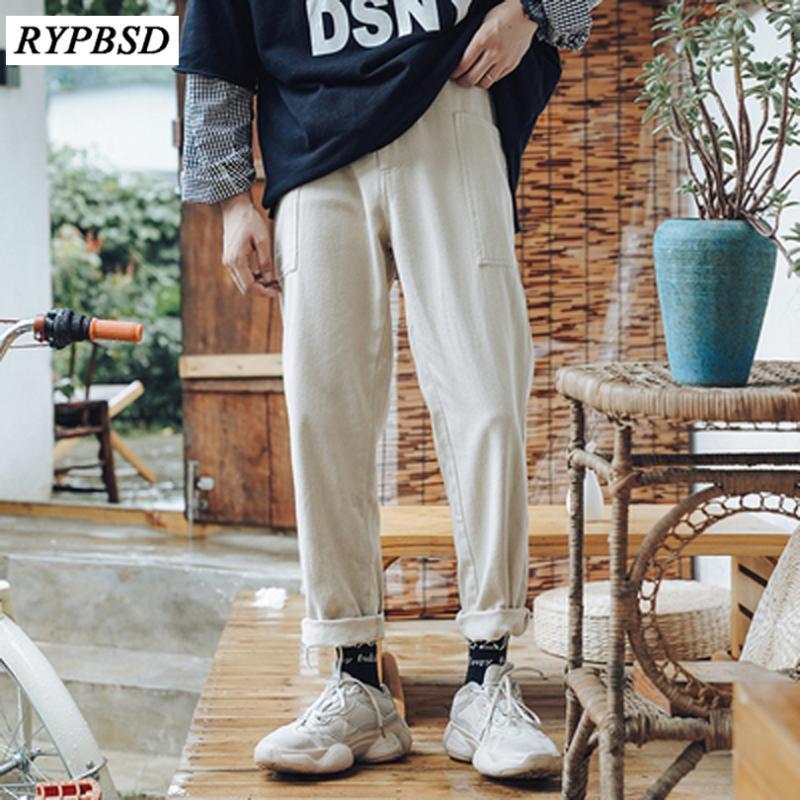 سروال الكورية أزياء الرجال خريف 2020 جديدة لون الصلبة السراويل مستقيم فضفاض تصميم الرجال الشحن M-XXL 3 ألوان