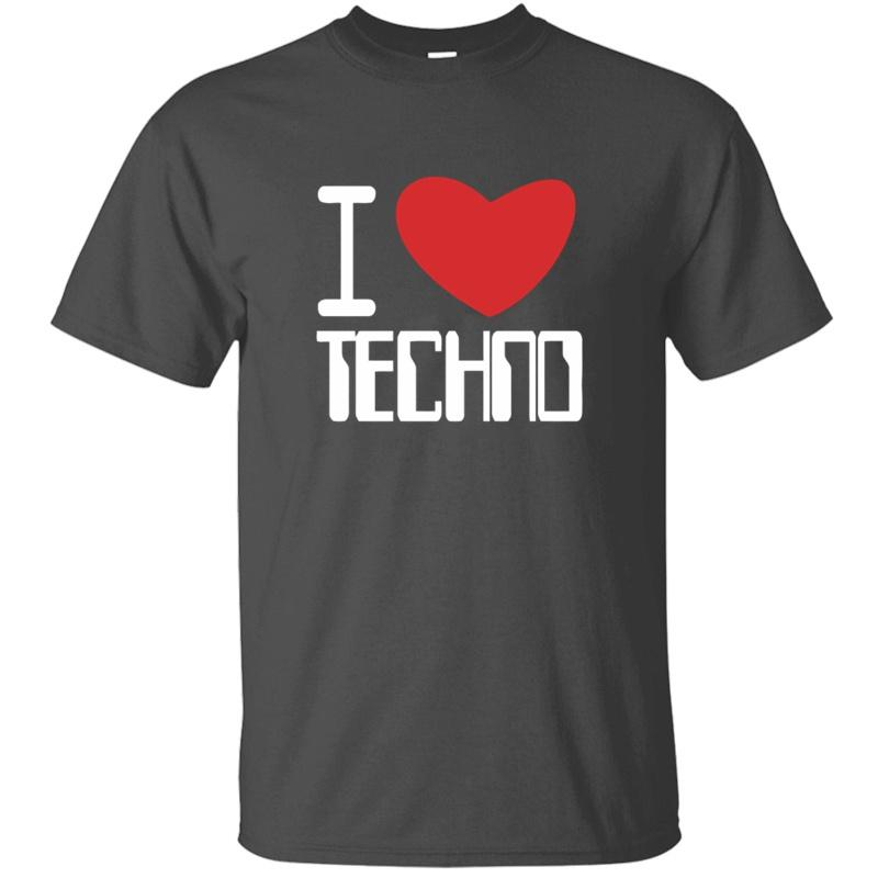 Design I Love Techno T-shirt homme vert armée de base solide Comical Garçon Fille T-shirts Big Taille 3XL 4XL 5XL Camisetas