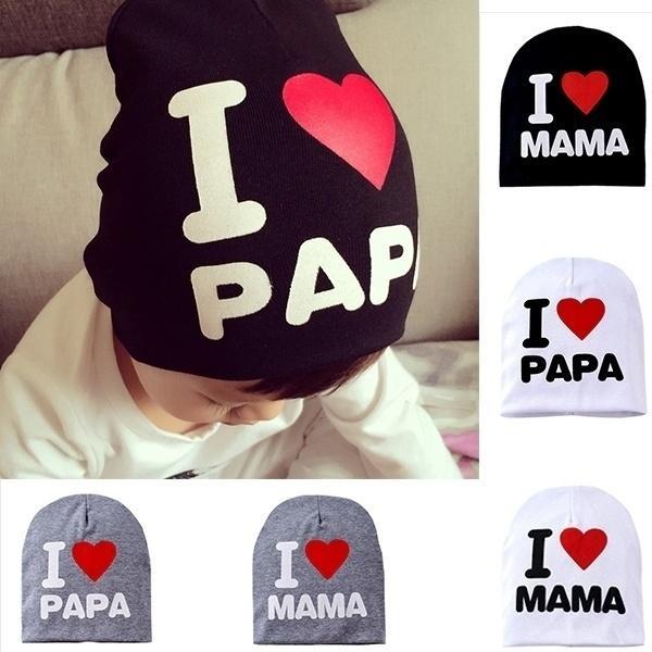 I Love MAMA PAPA-Druck-Babymütze Nette Cotton Kids Beanie Cap Kleinkind Kleinkinder Unisex Junge Mädchen Headwears Zubehör