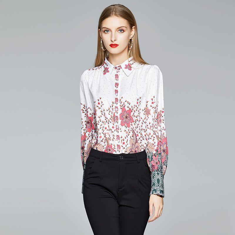 Лучшие Новые 2020 Подиум Элегантные женщины Цветочные Printed с длинным рукавом рубашки повелительниц способа вскользь офис отворотом Кнопка Сыпучие Блузки Топы Plus Размер