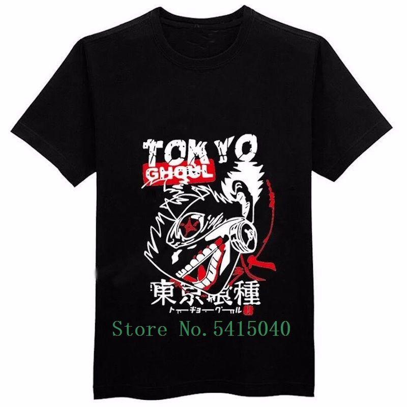 Verão Tops T-Shirts Tokyo Ghoul T shirt dos homens de New Arrivals 2018 T-shirt Casual Cotton T-shirt Ken Kaneki 100% dos meninos Anime Tee