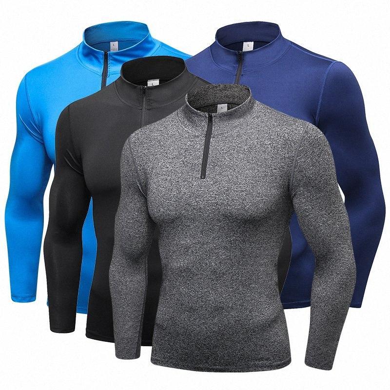 maglietta Esecuzione shirt VCOSTORE Nuova manica lunga degli uomini di sport calzamaglia con la chiusura lampo veloce Uomini Dry Sportswear uomo T-shirt fitness Cm0t #