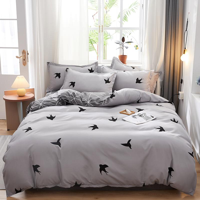 Grey Swallow printing bedding set 3/4pcs Pastoral duvet cover set AB side home bed simple flat sheet summer bed cover king