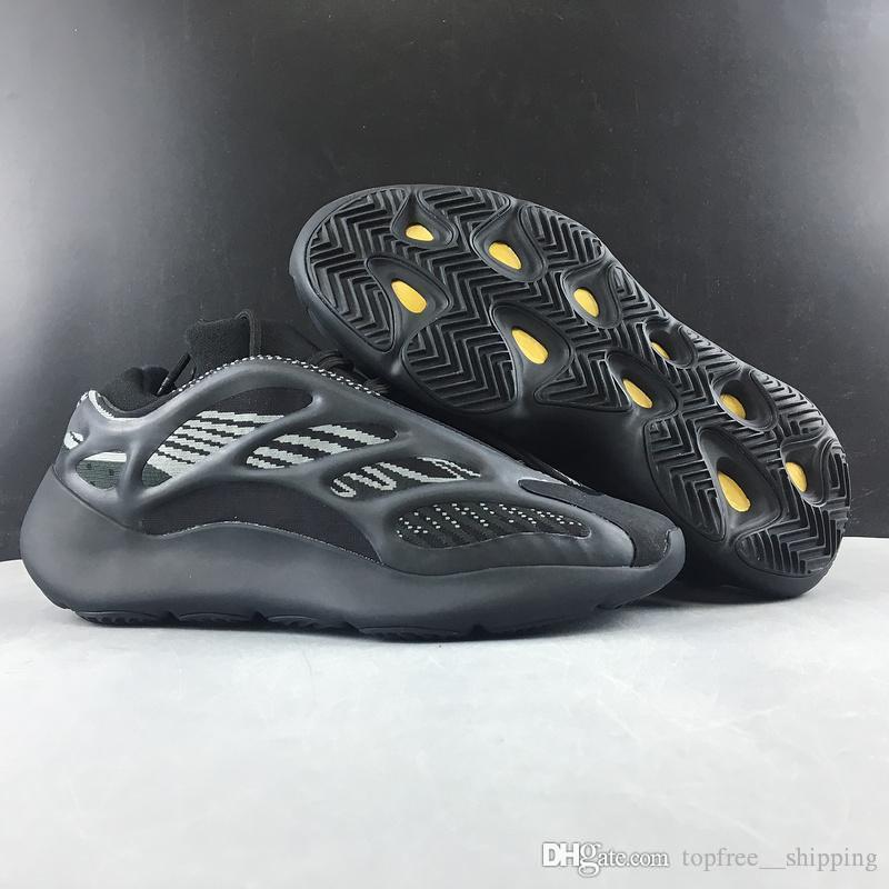 2020 New Kanye West 700 V3 Alva Noir Azaël Chaussures de course 3M Reflective coureur de vague authentique Hommes Femmes Sport Chaussures de sport avec la boîte H67799