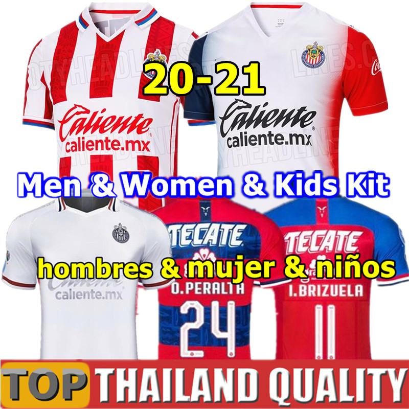 20 21 Thailand Chivas soccer jerseys 2020 2021 liga mx chivas Guadalajara Home away BRIZUELA 3rd football shirt Men Women kids kit uniforms