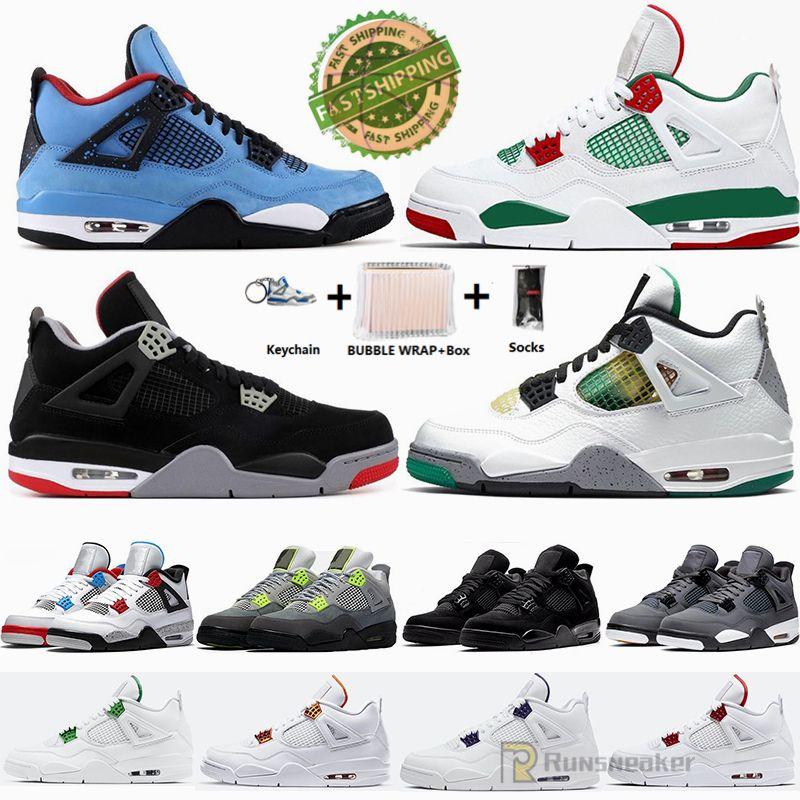 سريع الشحن صندوق الحرة الجوارب Jumpman 4 صبار جاك ولدت بارد رمادي أسود أبيض لامع بيتزا 4S الرجال لكرة السلة أحذية حجم 36-47 حذاء رياضة