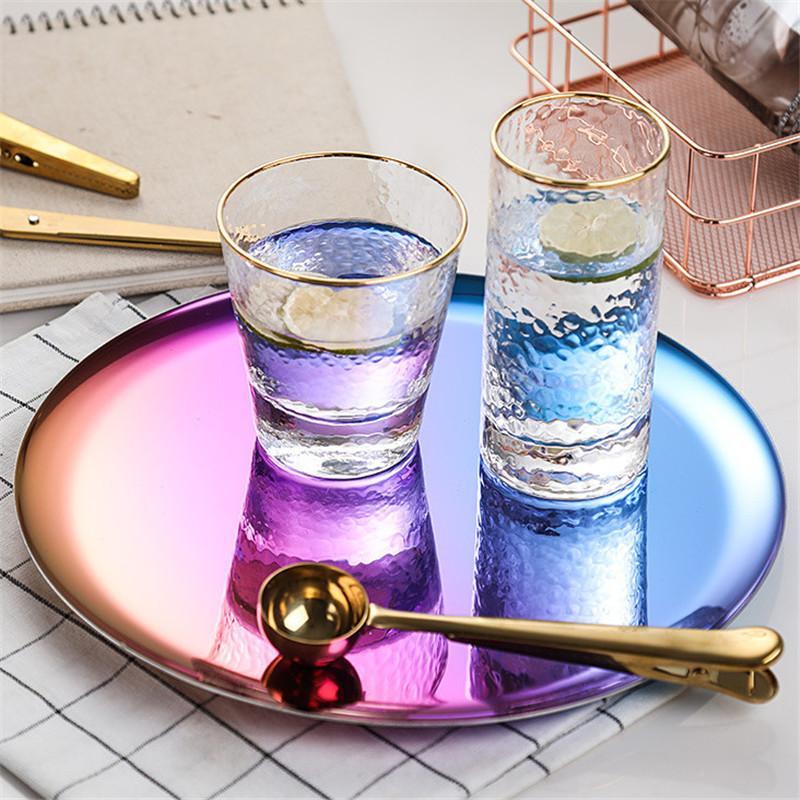 Servire piatto di cucina cassetto dell'alimento Vassoio colorata 11 pollici rotonda in acciaio inossidabile Vassoio di stoccaggio Home Decoration