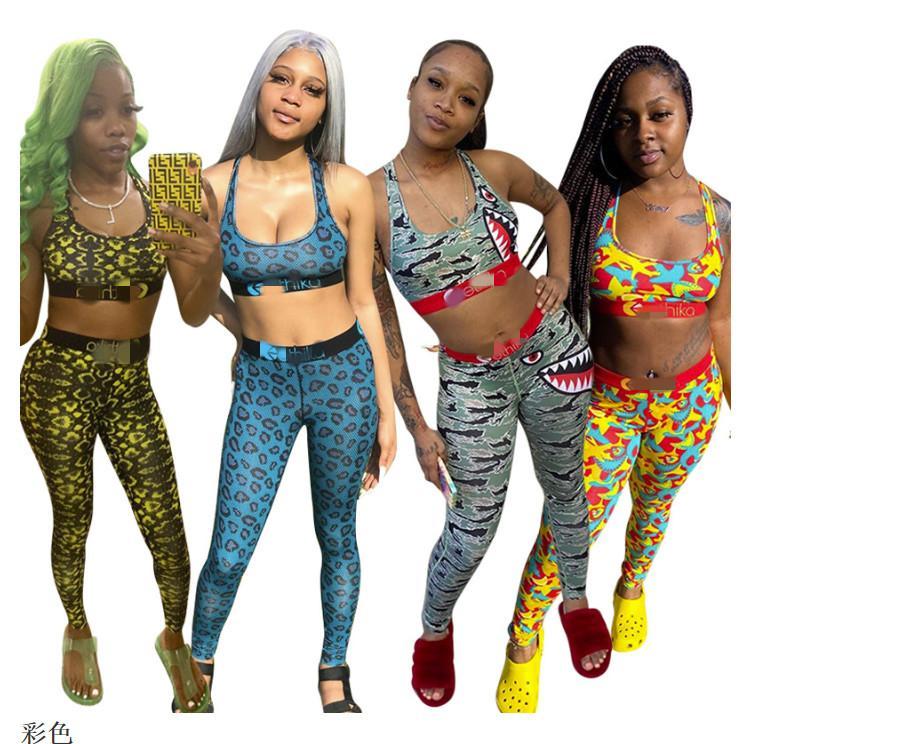 De alta qualidade da 80D8370 Mulheres sportswear padrão de leopardo duas peças colete roupas camuflagem impressão maiô desgaste da ioga