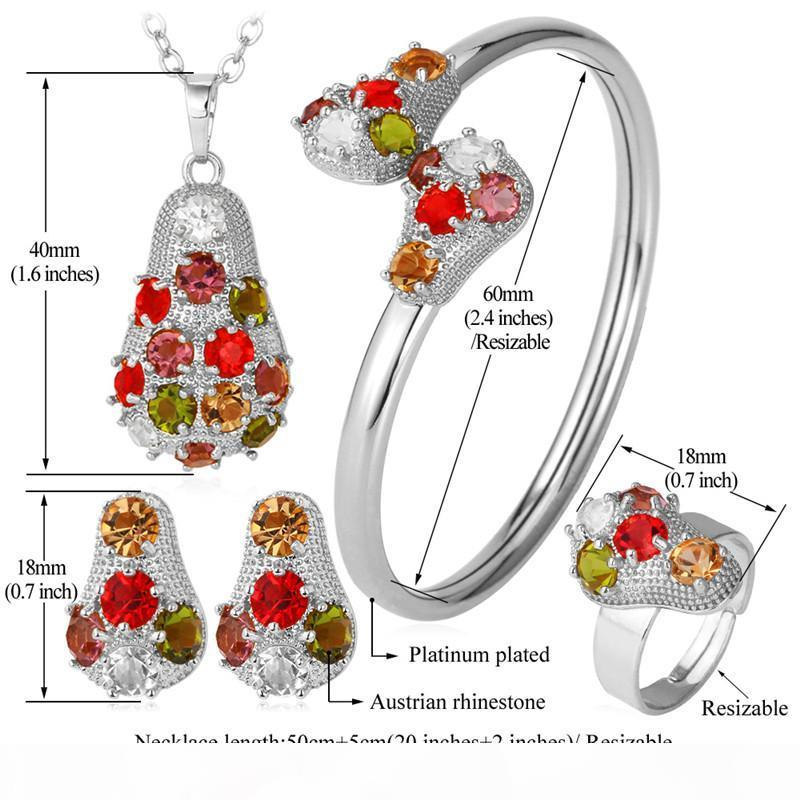 Luxe plaqué or 18 carats bijoux fantaisie Ensembles Mulit Couleurs strass bijoux cadeau avec boîte pour les femmes Livraison gratuite YN1197
