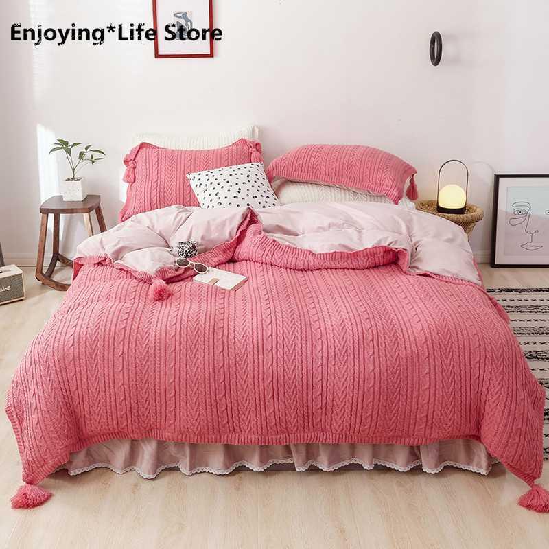 Rosa Verde Bianco Inverno Velluto Fleece confortevole Principessa Bedding Set Knitting nappa copripiumino Bed Gonna Federe Foglio