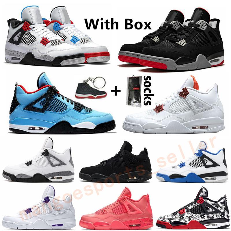 New Black Cat Bred 4 4s Mens-Frauen-Basketball-Schuhe Cacutus Jack Was The Red Metallic White Cement Sports Outdoor-Schuh