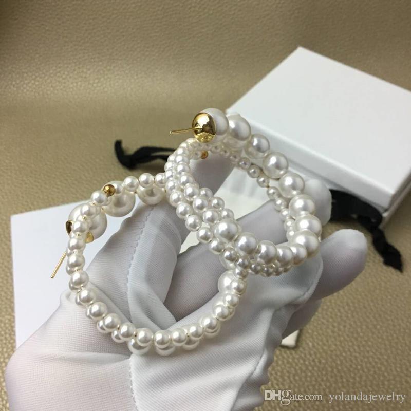Nouveau Mode Femmes populaires Boucles d'oreilles en or jaune Boucles d'oreilles plaqué perle pour les filles pour femmes de soirée de mariage beau cadeau pour ami