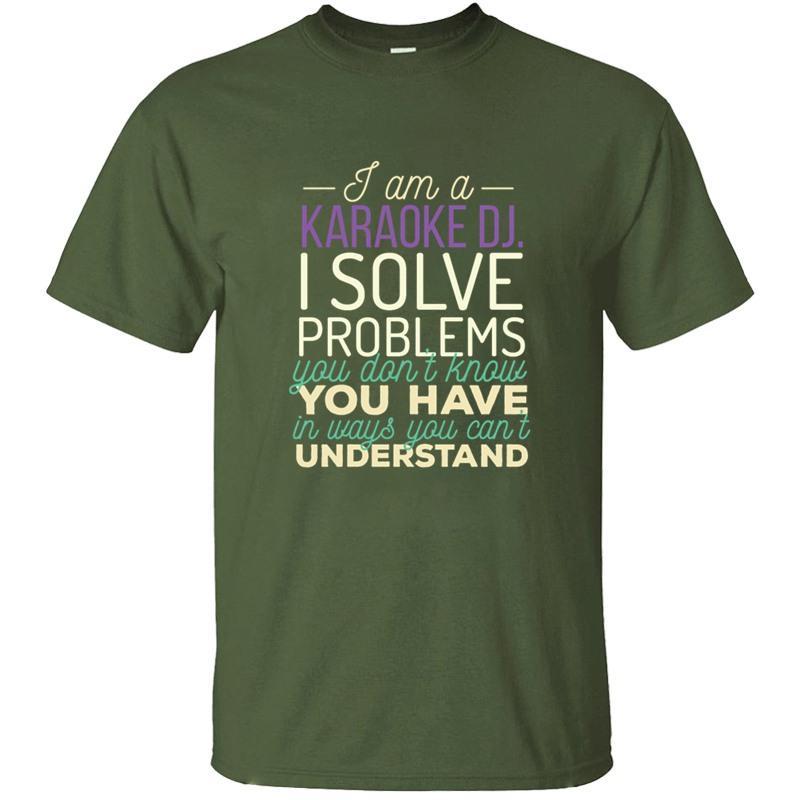Slogan Karaoke Dj - Ich bin ein Karaoke Dj. Ich löse Probleme Ihre T-Shirt für Männer O-Ansatz Basic-Fest-T-Shirts