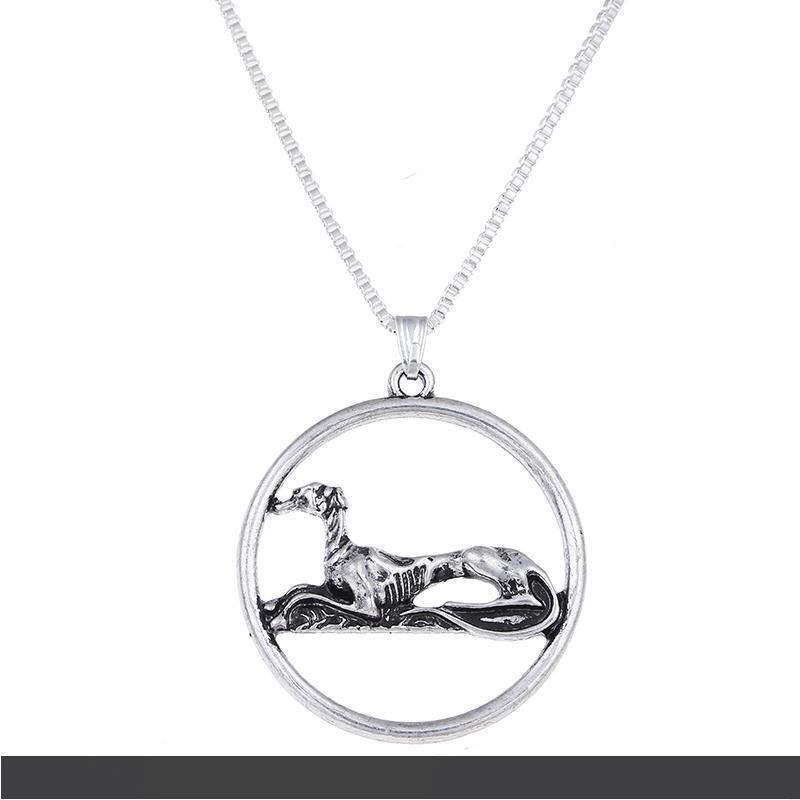 Antique Silver Resting Greyhound Necklace Sitting Grey Hound Pendants Charm Choker Necklaces Christmas Halloween Gift