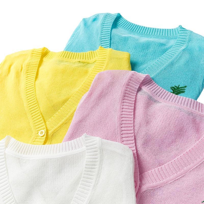 Девочек кардиган 2019 пальто лета детской кожи УФ-доказательство солнцезащитного крема одежды детской одежду солнцезащитного крема пальто
