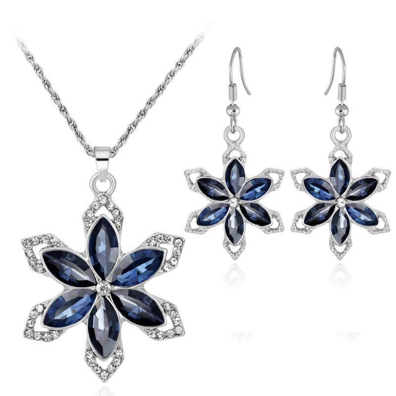 Flower Necklace Earring Set Jewelry for Women Girls Ladies Navy Blue Crystal Rhinestone Diamond Pendant Charm Silver Gift Jewellery Sets Hot