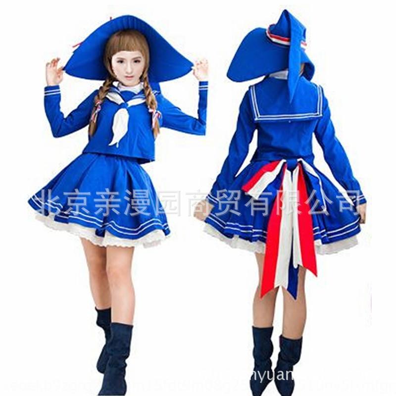 yVs9z yuan e yuan / Qinghai bruxa / cossuit / azul / terno de marinheiro / das cosplaywomen vestido / acessórios para o cabelo de graça yuan Dahai e Dahai yuan / Qinghai