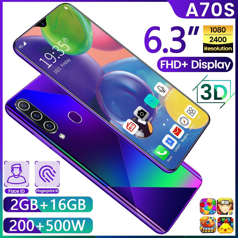 A70S caldo transfrontaliera telefono cellulare 6.3 pollici schermo goccia d'acqua vera impronta digitale smartphone Android 2 + 16 OEM disponibile