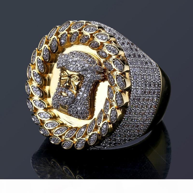 Para hombre Hip Hop helaron los anillos fuera el anillo de oro de Jesús nueva joyería del anillo de diamante de simulación de alta calidad