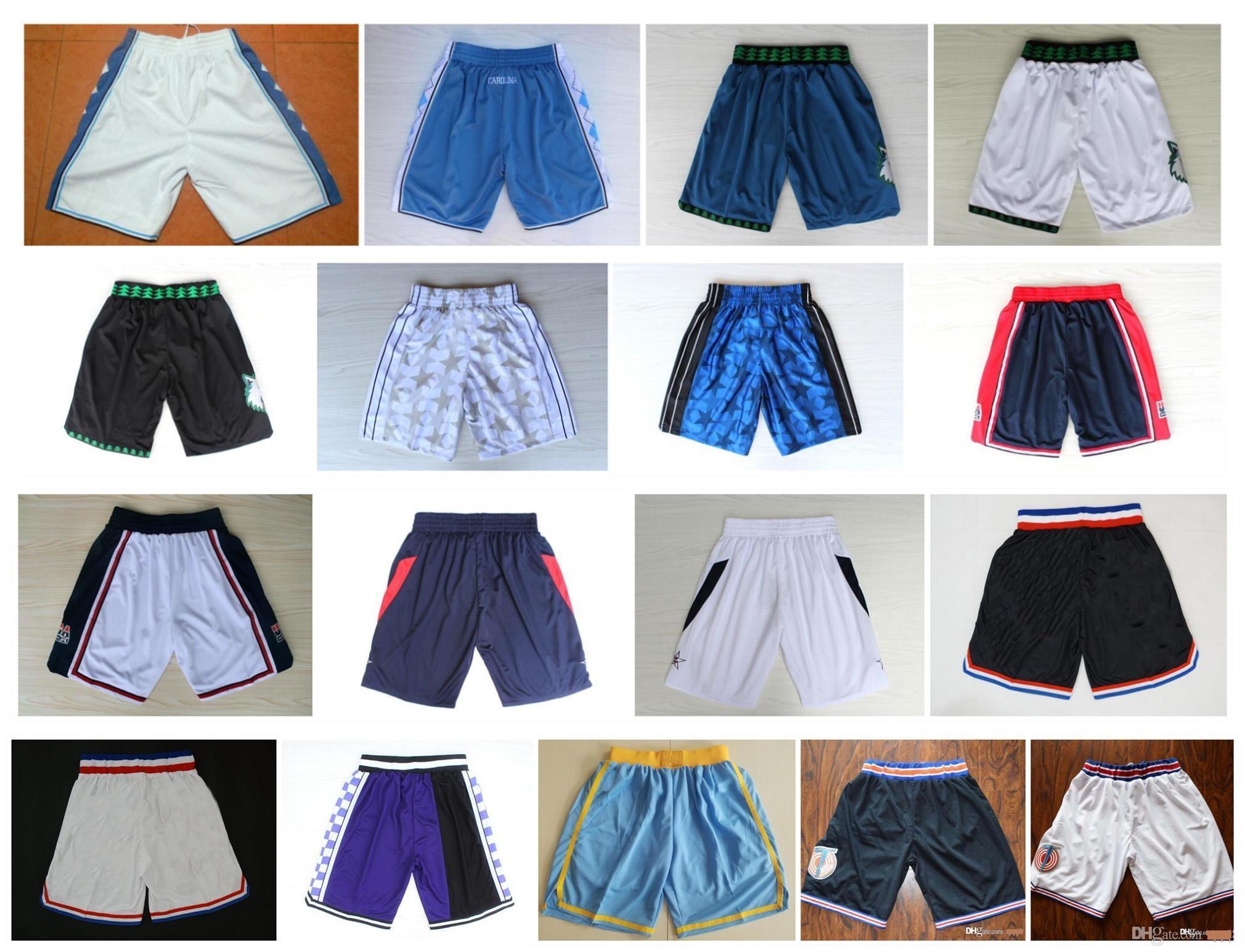 ¡Calidad superior! 2020 Team Shorts Shorts Men Shorts Sports Space Jam Jersey Película Tune Squad Carolina de alquitrán Tar Heels Deporte Pantalones universitarios