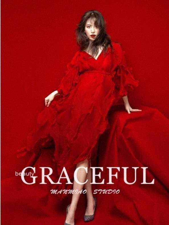 Fotografia Puntelli Dvotinst donne elegante rosso con scollo a V Vestiti di maternità Moda Gravidanza dress Studio servizi fotografici Puntelli 73gz #